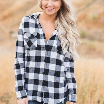 Fall Factors Hooded Flannel (White/Black)