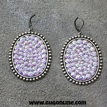 Pink Panache Oval Earrings with Solid AB Crystals