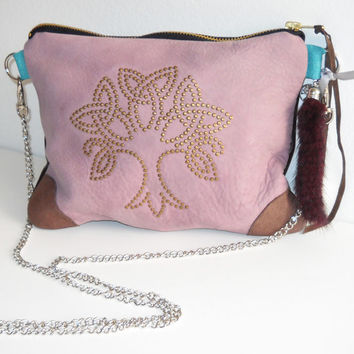 Handcrafted // Blush Pink Leather // Celtic Zipper Clutch Bag // Triquetra Tree of Life // Studded Embellishment Fur Charm
