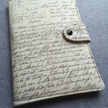 Nexus 7 , Kindle Fire Cover, Kindle cover, Nook, eReader Cover, Book Style, Old Script ..Made to order