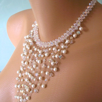 Crystal Waterfall Necklace, Statement Necklace, Butler & Wilson Choker, Vintage Bridal Jewelry, Pearl Necklace and Earrings, Art Deco