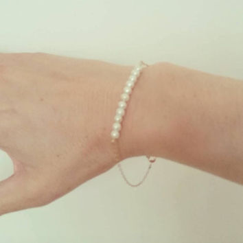 Delicate Pearl Bar Gold Fill Sterling Silver Bracelet Bridesmaids Gift