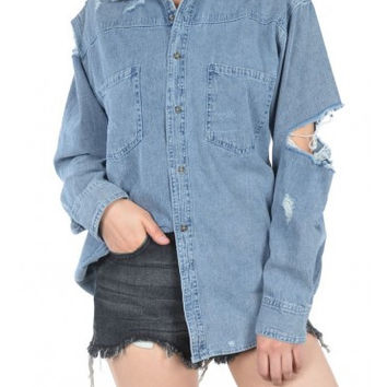 Ripped and Distressed Denim Shirt