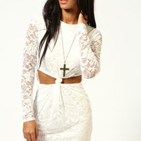 Rosie Long Sleeve Lace Knot Front Dress