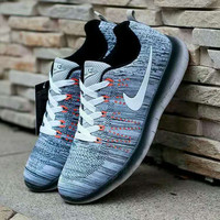 """Nike"" Fashion Breathable Sneakers Sport Shoes Grey white hook"
