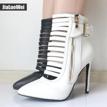 jialuowei 2017 Sexy Women Boots Zip 12CM High heels Fetish Narrow Bands Boots Lady Black Patent Leather Pointed toe Ankle Boots
