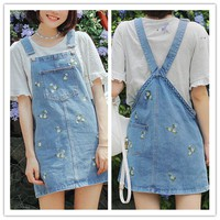 Light Blue Floral Embroidery Denim Suspender Skirt SP179976