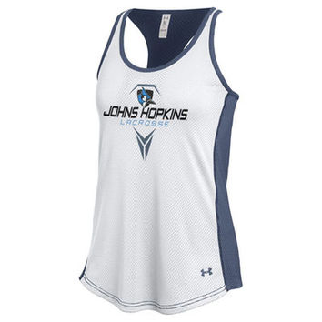 Johns Hopkins Blue Jays Under Armour Women's Lacrosse Bolo Mesh Tank Top - White