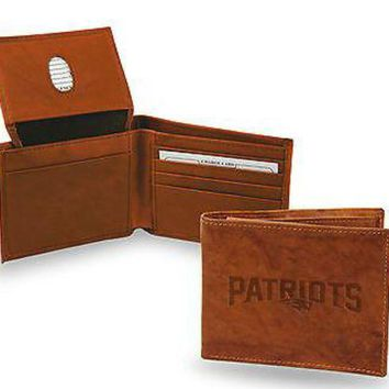 ONETOW New England Patriots Wallet Prem Brown LEATHER BillFold Embossed Bifold Football