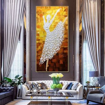 Oil  Ballet Dancer original painting On Canvas Wall Pictures Large canvas art painting Abstract Palette Knife Home decor cuadros abstractos