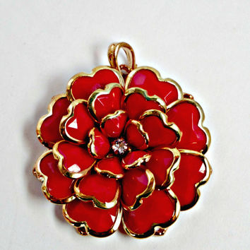 Glass Flower Pendant, Red and Gold 50mm Necklace Jewelry Making Supply