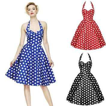 LMFUG3 Summer Style Retro Woman Vintage Dress Big Swing Polka Dot Backless Rockabilly Plus Size = 1947053380