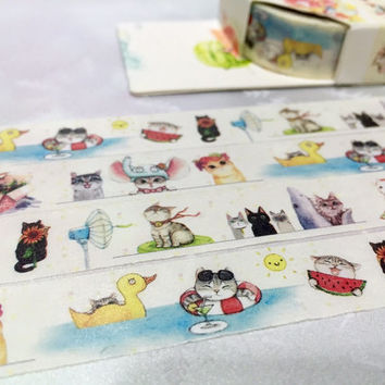 super cute Cat washi tape 5M my pet cat meow meow funny cat cartoon masking tape summer kitten sticker tape cat diary cat planner cat decor