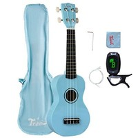 Trendy Traditional and Painted Economy Hawaiian Soprano Ukulele Starter Pack, 21 Inch Standard Model, Light Blue