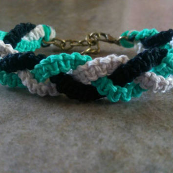 Tri Color Hemp Bracelet, Braided With love, Adjustable Bracelet, Gift for Her, Brass, Everyday Jewelry, Summer, Free USA Shipping