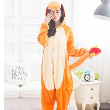 Pokemon Charmander Pajama Set Women Men Unisex Adult Animal Pijama Flannel Onesuit  Sleepwear Hoodie Halloween Cosplay Costume