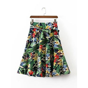 women sweet ruffles floral skirts pleated green sashes pockets European style casual knee length skirts Femininas