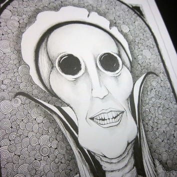 GREAT AUNT AGATHA: Original artwork pen and ink portrait, surreal pen drawing, black and white illustration, 9x12