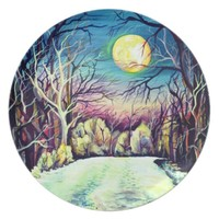 Silent Night Winter Full Moon in Sweden Plate