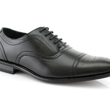 Delli Aldo Men's 19006 Cap Toe Lace Up Leather Lined Oxfords