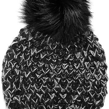 Faux Fur Pom Pom Knit Beanie Hat - Black