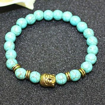 8mm Natural Turquoise Stone Beads Bracelet for Women,Antique Silver and Gold Lion/Buddha/Leopard/Skull Bracelets Mens Jewelry vintage gold buddha