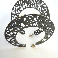 Handmade Sterling Silver Large Slender Filigree Hoops.Cordoba Series