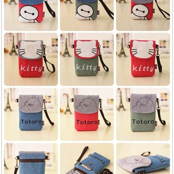 Totoro / Hello Kitty / Baymax Fashionable Denim Wallet / Purse with Shoulder Strap