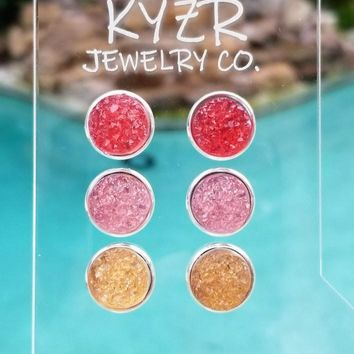 Druzy earring set- Watermelon/ Pink and Apricot drusy stud set