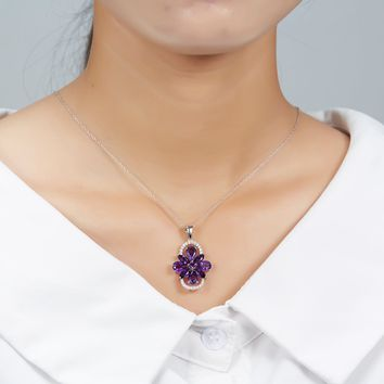 Hutang Luxury Natural Amethyst Jewelry Sets Solid 925 Sterling Silver Ring Pendant Gemstone Fine Jewelry Christmas Gift