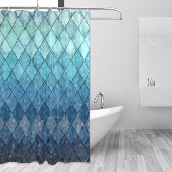 High Quality Custom Waterproof Bathroom Mermaid Scales Geometric Rhombus Shower Curtain Polyester Fabric Bathroom Curtain