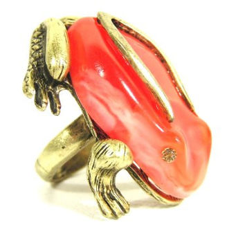 Red Tree Frog Ring Size 6 Rainforest Poison Dart Jungle Toad RH23 Vintage Cocktail Fashion Jewelry