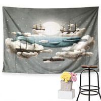 Whale Tapestry Ocean Meets Sky Cartoon Tapestry Wall Hanging Printed Wall Art Carpet Multi-sizes Bedspreads