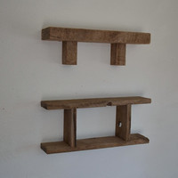 Rustic wood wall shelf and shabby chic shadow box