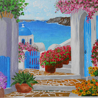Acrylic canvas panel painting, Santorini view, Home decor