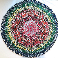 Round Braided Tshirt Rag Rug- Red, Orange, Yellow, Green, Blue, White, Gray, Black