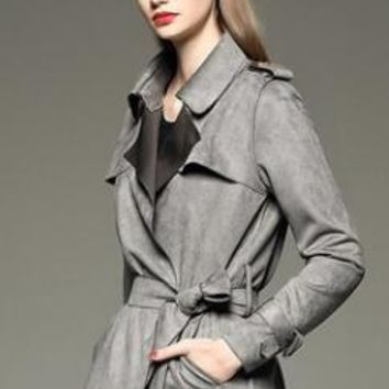 2017 Autumn And Winter New Women Outerwear Fashion In The Long Paragraph Suede Deer Leather Temperament Slim Trench Coat