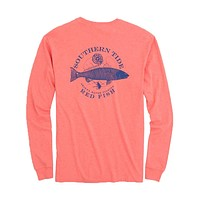 Fish Series Red Fish Heathered Long Sleeve T-Shirt in Heather Sea by Southern Tide - FINAL SALE