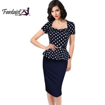 Fantaist Vintage FakeTwo Piece Polka Dot Peplum Office Plus Size Dress Elegant Party Fitted Pencil Women Work Dress Summer 2016
