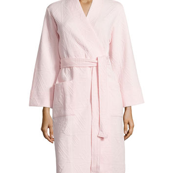 Long-Sleeve Jacquard Robe, Blush Pink, Size: