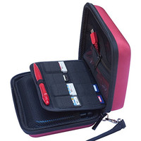 BRENDO Carry-all Hard Case with 8 Game Holders for Nintendo 3DS XL / 3DS XL / 3DS - Wine Red
