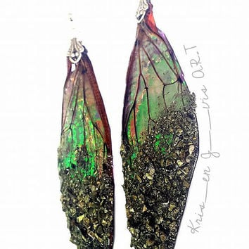 Fairy Wing Earrings - Faerie Wing Earrings - Fairy Jewelry - Cicada Jewelry - Real Wings - Insect Wings - Cicada Earrings - Enchanted Wood