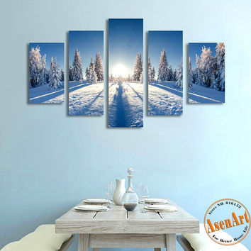 5 Panels Beautiful Nature Snow Winter Landscape Picture Canvas Print Sunrise Painting Tree For Living Room Wall Art Home Decor