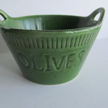 Olive Green Pottery Bowls with Handles Olive Dish Bowls Green Yellow ware Pottery Oliva Bowl