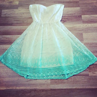 White/Mint Ombre Strapless Dress