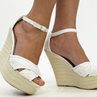 Lovey Dovey White Crochet Lace  Wedge Sandals