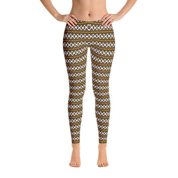Africa Leggings for Women - Stylish Durable Novelty Leggings - Cut, Sewn, and Printed in California - Model 29044