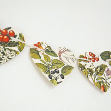 Autumn Berries Bunting, Fall Heart garland, Autumn Bunting, Wedding decor, Fall Decor, Fall Wedding, Heart Bunting, Botanical Banner