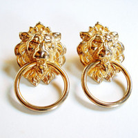 Vintage Lion Head Earrings Gold Door Knocker Large Figural High Fashion Closed Eyes Ring In Mouth