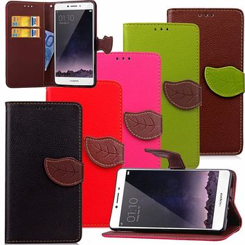 For OPPO A33 Luxury Leather Cover Flip Wallet Phone Case For OPPO R7s With Leaves Buckle And Lanyard Mobile Phone Shell